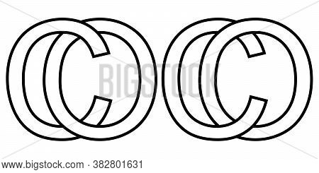 Logo Sign Oc Co Icon Sign Two Interlaced Letters O, C Vector Logo Oc, Co First Capital Letters Patte