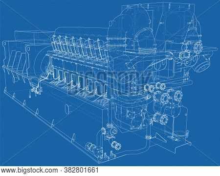 Gas-engine. Gas Engine Is An Internal Combustion Engine Which Runs On A Gas Fuel. Wire-frame Line Is