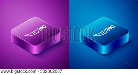Isometric Dagger Icon Isolated On Blue And Purple Background. Knife Icon. Sword With Sharp Blade. Sq