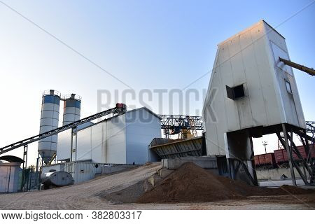 Ready Mix Stationary Concrete Batching Plant On Construction Site. Producing Oncrete And Portland Ce