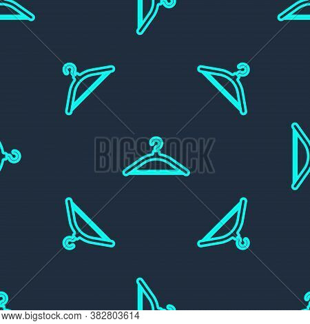 Green Line Hanger Wardrobe Icon Isolated Seamless Pattern On Blue Background. Cloakroom Icon. Clothe