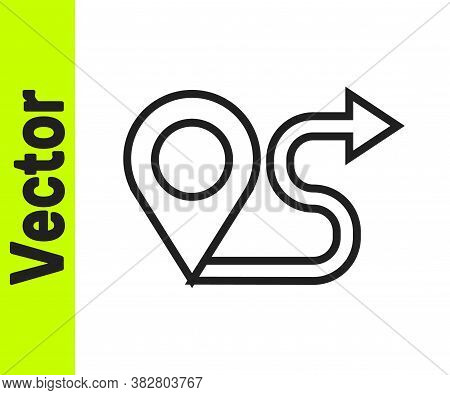 Black Line Route Location Icon Isolated On White Background. Map Pointer Sign. Concept Of Path Or Ro