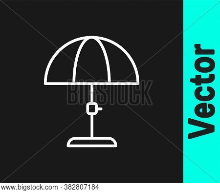 White Line Sun Protective Umbrella For Beach Icon Isolated On Black Background. Large Parasol For Ou