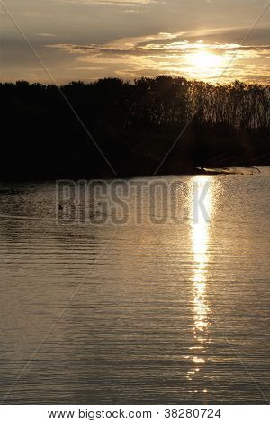 scenic shot of river during sunset