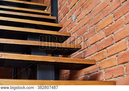 Stairs In Loft Apartment. Staircase Without Railing. Modern Hipster Style Attic Loft Apartment Detai