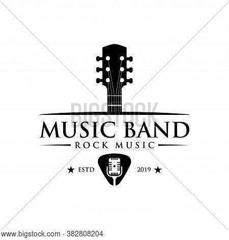 Music And Band Classic Logo, Guitar, Music Club Vintage Logo
