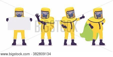 Man Wearing Yellow Hazmat Protective Clothing, Cloak, Holding Banner. Worker In Level A Suit, Covera