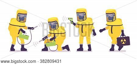 Man Wearing Hazmat Protective Clothing Holding Geiger Counter, Thermometer, Box. Worker In Level A S