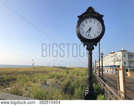 Bethany Beach, De: Clock On The Boardwalk In Bethany Beach, Delaware (august 3, 2020)