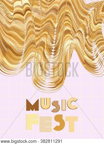Music Cover In Gold, Yellow, Copper Colors. Rock Concert Flyer. Minimal Tech Brochure. Amplitude Lay