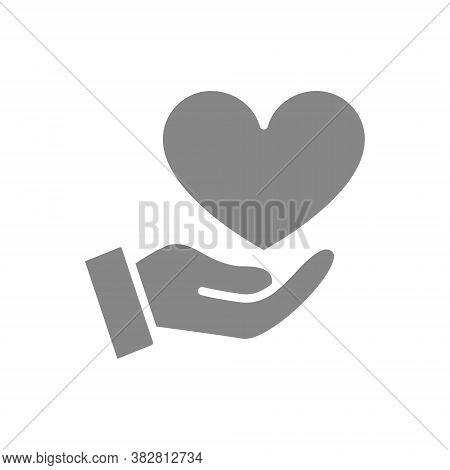 Hand With Big Heart, Giving A Love Gray Icon. Charity, Donation, Like Symbol