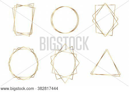 Golden Geometric Frame. Geometrical Polyhedron Design For Wedding Card, Invitations, Logo, Book Cove