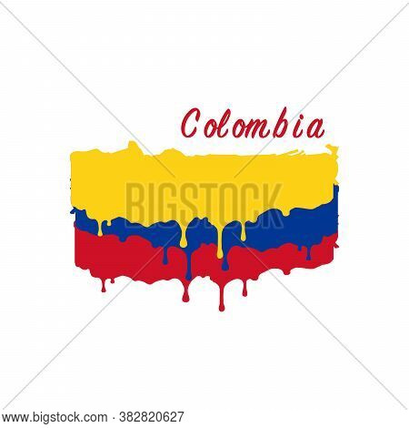 Painted Colombia Flag, Colombia Flag Paint Drips. Stock Vector Illustration Isolated On White Backgr