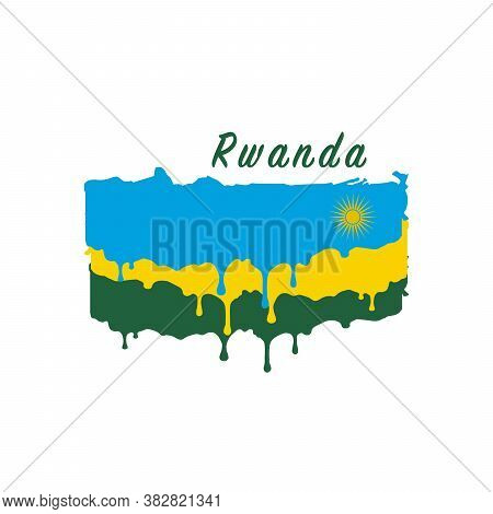 Painted Rwanda Flag, Rwanda Flag Paint Drips. Stock Vector Illustration Isolated On White Background