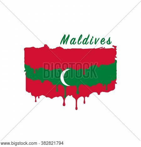 Painted Maldives Flag, Maldives Flag Paint Drips. Stock Vector Illustration Isolated On White Backgr