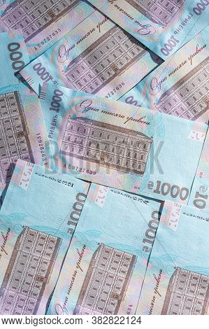 Ukrainian Hryvnia In The Face Value Of One Thousand Hryvnias, The Texture Of One Thousand Hryvnia No