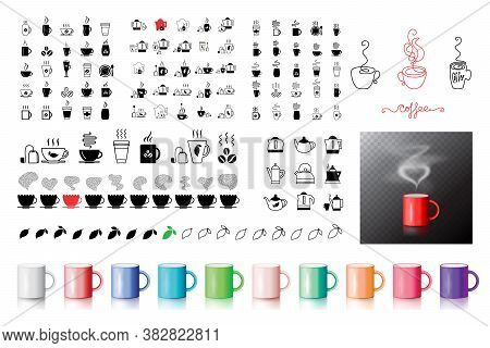 Coffee Symbol Icons Collection, Set Of   Drinks, Beverages