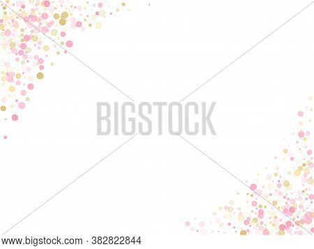 Rose Gold Confetti Circle Decoration For New Year Card Background. Holiday Vector Pattern. Gold, Pin
