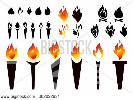 Fire Torch   Icons, Torches Silhouettes With Flames