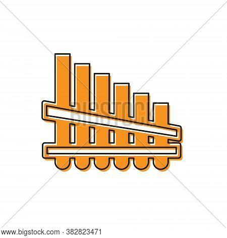 Orange Pan Flute Icon Isolated On White Background. Traditional Peruvian Musical Instrument. Zampona