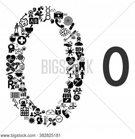 Mosaic Zero Digit Of Health Care Items And Basic Icon. Mosaic Vector Zero Digit Is Composed Of Healt