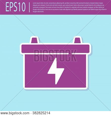 Retro Purple Car Battery Icon Isolated On Turquoise Background. Accumulator Battery Energy Power And