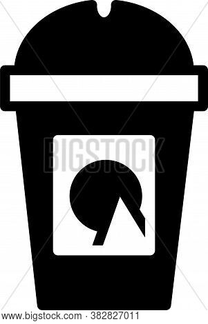 Black Coffee Cup To Go Icon Isolated On White Background. Take Away Print. Vector