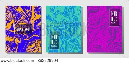 Cool Marble Prints, Vector Cover Design Templates. Fluid Marble Stone Texture Iinteriors Fashion Mag