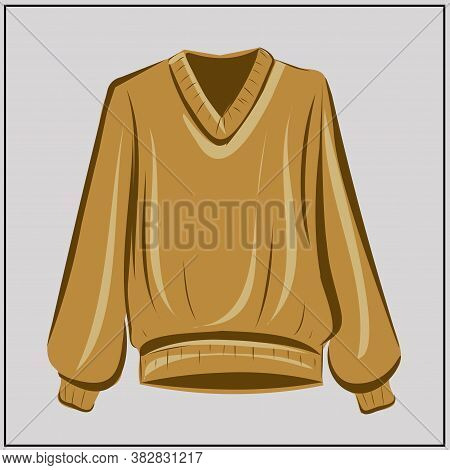 Beige Sweater. Cardigan. Ochre. Oversize. Fashion. The Basic Wardrobe Of A Minimalist. Autumn Clothe