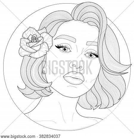 Girl With A Rose In Her Hair.coloring Book Antistress For Children And Adults. Illustration Isolated