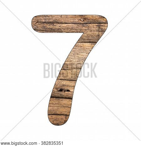 No. 7 (seven) Vintage Wood Background - Isolated White
