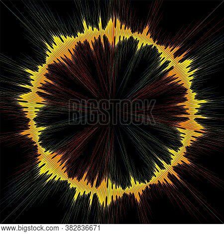 Circle Rainbow Music Wave Background. Jpeg Colorful Round Wave Banner. Audio Pulse Player Waveform I