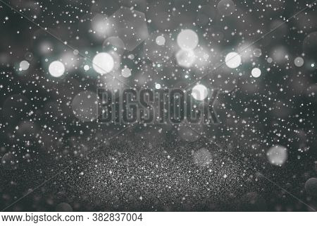 Light Blue Cute Glossy Abstract Background Glitter Lights With Sparks Fly Defocused Bokeh - Festive
