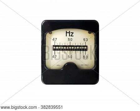 Ancient Frequency Meter Measuring The Frequency (xz) Isolated On A White Background. Vibration (reed