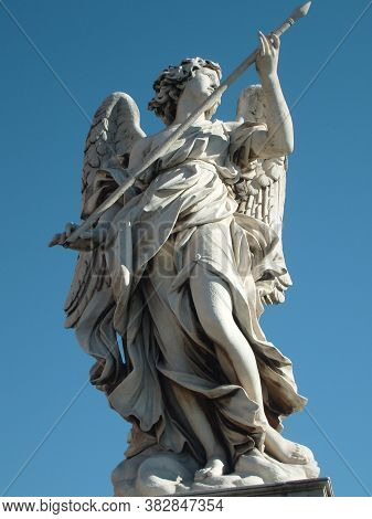 Rome, Italy. December 10, 2007. Sculptures In The Vatican. Berninis Marble Statue Of Angel From The