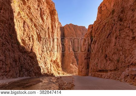 The Todgha Gorge Canyon Near The Town Of Tinghir, Morocco. This Series Of Limestone River Canyons Ar