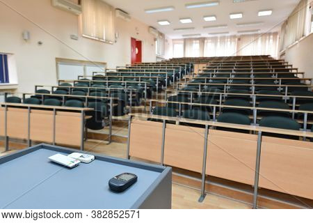 empty classroom university or collage back to school concept in coronavirus pandemic time