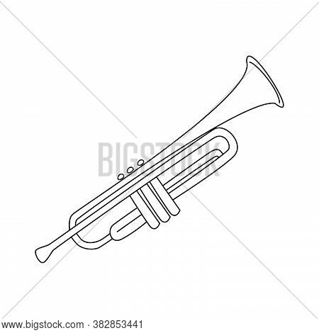 Trumpet Musical Instrument, Wind Instrument For Orchestra, Jazz Equipment Vector Outline Illustratio