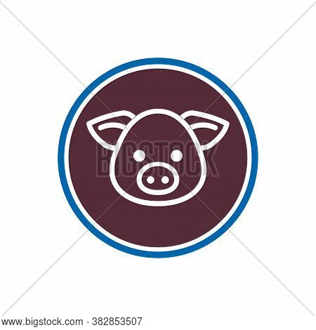 Vector Of Pig Head. Pig Icon In Round Shape Vector. Pig Icon Black On White Background. Pig Icon Sim