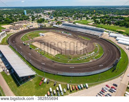 July 19, 2020 - Knoxville, Iowa, USA: Knoxville Raceway is a semi-banked 1/2 mile dirt oval raceway (zook clay) located at the Marion County Fairgrounds in Knoxville, Iowadefault