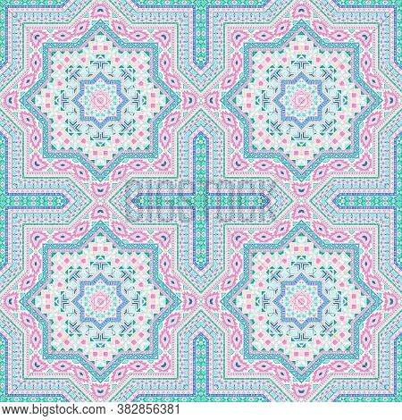 Subtle Portugese Azulejo Tile Seamless Rapport. Ethnic Structure Vector Patchwork. Coverlet Print De