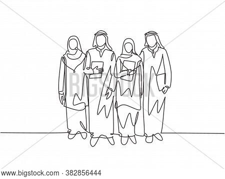 One Continuous Line Drawing Of Young Happy Muslim Workers Walking Together At Office Alley Building.