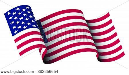 American Flag In Motion, Fluttering In The Wind On Transparent Background. Main Star And Striped Sym