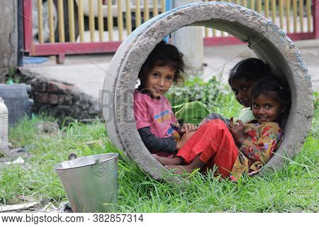 Dehradun, Uttarakhand/india- August 01 2020: School Closed Due To Corona Virus Pandemic , Poor Kids