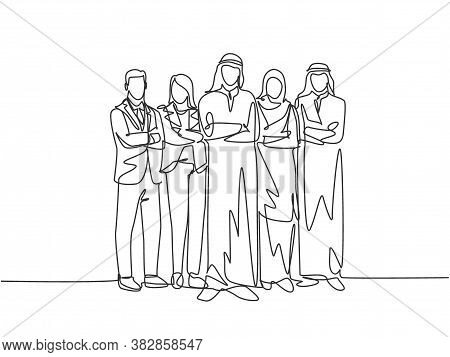 Single Continuous Line Drawing Of Young Male And Female Muslim Staff Employees Line Up Together At T