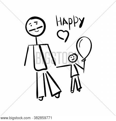 The Father And The Son. Happy Writing. Hand-drawn Illustration. A Childs Drawing Is Isolated On A Wh