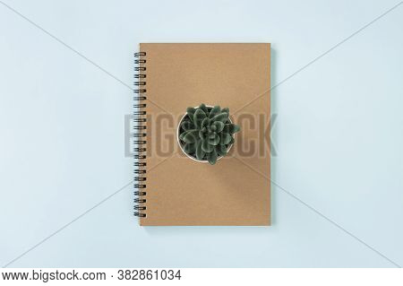 Brown Cover Spiral Notebook Or Spring Notebook In Unlined Type And Kalanchoe Or Succulent Plants On