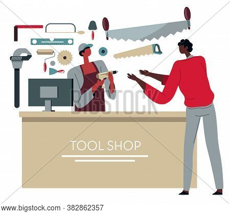 Tool Shop, Store Salesman Selling Instrument To Customer