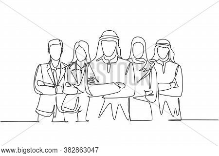 One Single Line Drawing Of Young Happy Male And Female Muslim Workers Line Up Together. Saudi Arabia