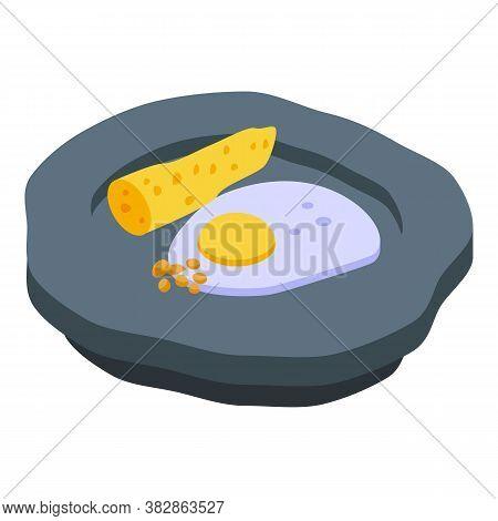 Fried Egg Molecular Cuisine Icon. Isometric Of Fried Egg Molecular Cuisine Vector Icon For Web Desig